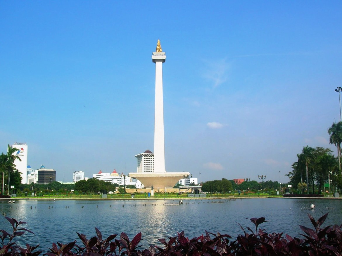 National Monument (Indonesia) is located in Jakarta.Under the guidance of the first President of Indonesia Sukarno, the National Monument's construction began in 1961. After 14 years, on 12th July 1975 it was inaugurated.