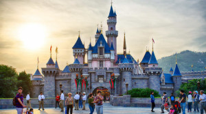 hong kong disneyland at sunset